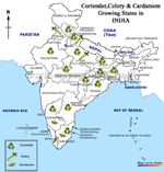 Coriander, Celery, Cardamom Growing states in India